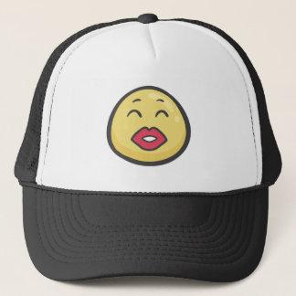 Emoji: Küssen des Gesichtes mit lächelnden Augen Truckerkappe