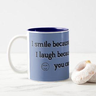 Emoji Lächeln und Lachen Schwester - Kaffeetee Zweifarbige Tasse