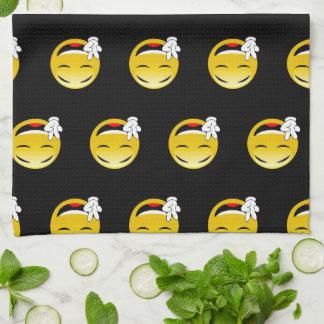 Emoji mit den Friedenszeichen-Händen Geschirrtuch