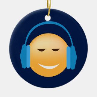Emoji mit Kopfhörern Keramik Ornament