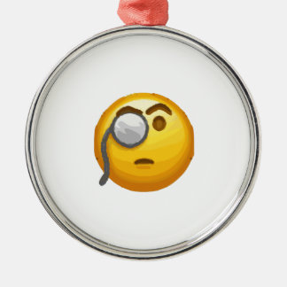 emoji Monocle Silbernes Ornament