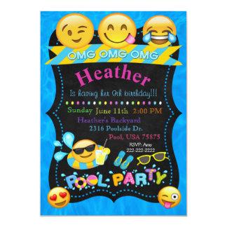 Emoji Pool-Party-Geburtstags-Einladung Karte