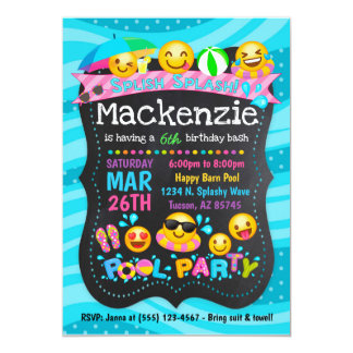Emoji Pool-Party-Geburtstags-Einladungen Karte