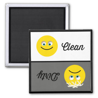 Emoji sauberer schmutziger Spülmaschinen-Magnet Quadratischer Magnet