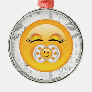 Emoji süßes Baby ID231 Silbernes Ornament