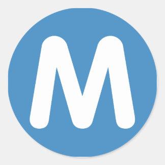 Emoji Twitter - Letter M Runder Aufkleber