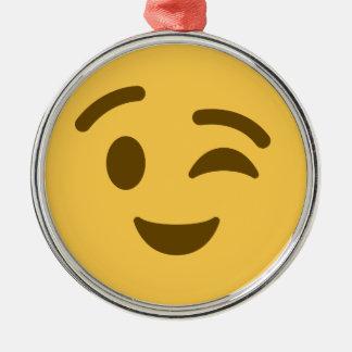 Emoji Wink Silbernes Ornament