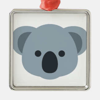 EmojiKoala Quadratisches Silberfarbenes Ornament