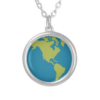 Emojis Planeten-Erdweltkontinent-Entwürfe Versilberte Kette