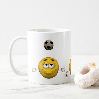 Emoticon spielt Fußball, Cartoonart Kaffeetasse