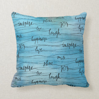 Emotionale Inspirationen auf blauem Aquarell Kissen