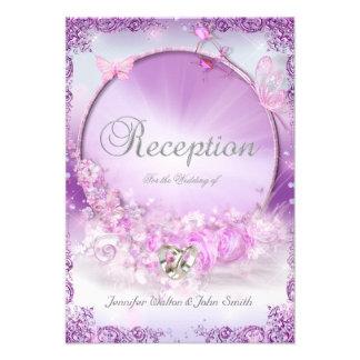 Empfang, der rosa lila Ring-Schmetterling Wedding Individuelle Einladungskarte