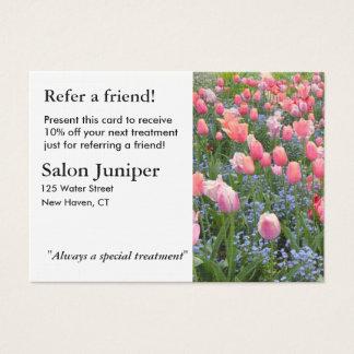 Empfehlungs-Karte mit Tulpen und Jumbo-Visitenkarten