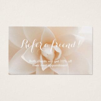 Empfehlungs-Karten-nobler weißer Blumenhintergrund Visitenkarten