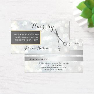 Empfehlungskarte schicke bokeh Silberscheren Visitenkarte