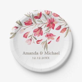 Empfindliche Blüte der rosa wedding Pappteller