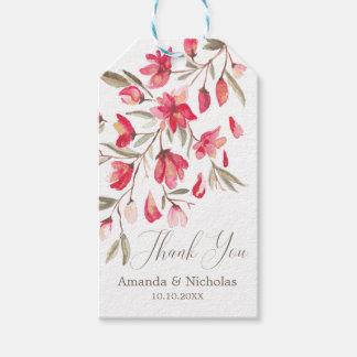 Empfindliche Blütenrosa-Aquarellhochzeit danken Geschenkanhänger