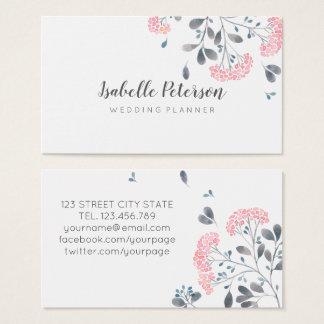 Empfindliche girly rosa graue Watercolor-Blumen Visitenkarte