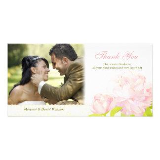 Empfindliche Pfingstrosen-moderne Hochzeit danken Photo Karten Vorlage