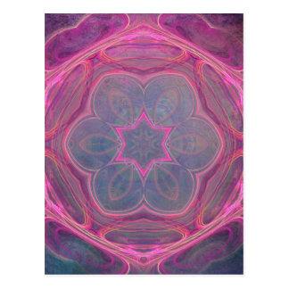 empfindliche rosa Kaleidoskop-Blumenpostkarte Postkarte