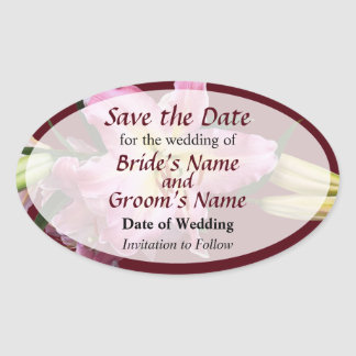 Empfindliche rosa Lilien Save the Date Ovaler Aufkleber