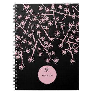 Empfindliche rosa von Hand gezeichnete Notizblock