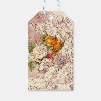 Empfindliche Vintage Rosen-Kunst Geschenkanhänger
