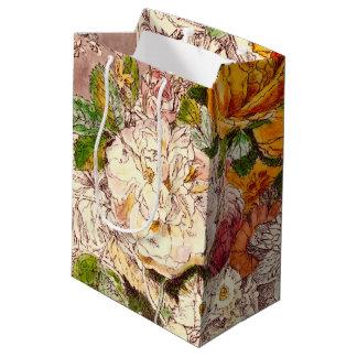 Empfindliche Vintage Rosen-Kunst Mittlere Geschenktüte