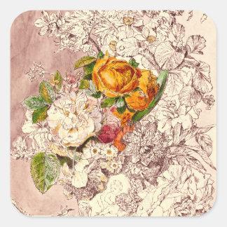 Empfindliche Vintage Rosen-Kunst Quadratischer Aufkleber