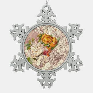 Empfindliche Vintage Rosen-Kunst Schneeflocken Zinn-Ornament