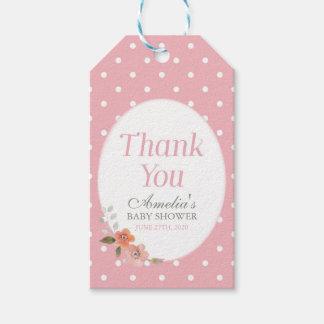 Empfindlicher rosa mit BlumenTupfen danken Ihnen Geschenkanhänger