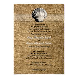 Empfindlicher Seashell auf Leinwand-einzigartiger 12,7 X 17,8 Cm Einladungskarte