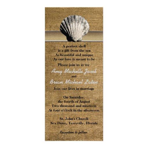 Empfindlicher Seashell auf Leinwand-einzigartiger Individuelle Einladungskarte