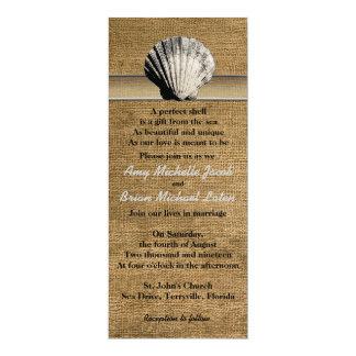Empfindlicher Seashell auf Leinwand-einzigartiger 10,2 X 23,5 Cm Einladungskarte