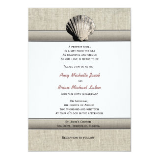 Empfindlicher Seashell-elegante Vintage 12,7 X 17,8 Cm Einladungskarte