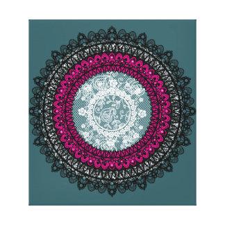 Empfindlicher weißer Spitze-Mandala-Entwurf Leinwanddruck