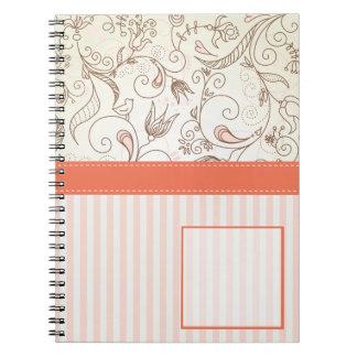 Empfindliches Blumennotizbuch Spiral Notizblock