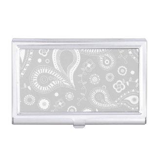 Empfindliches graues und weißes Paisley-Muster Visitenkarten Dose