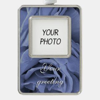 Empfindliches hellblaues graues Rosen-Blumen-Foto Rahmen-Ornament Silber