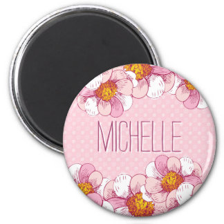 Empfindliches rosa Blumenmuster mit rosa Runder Magnet 5,7 Cm