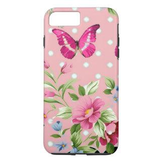 empfindliches rosa Vintages Blumenmuster iPhone 7 Plus Hülle