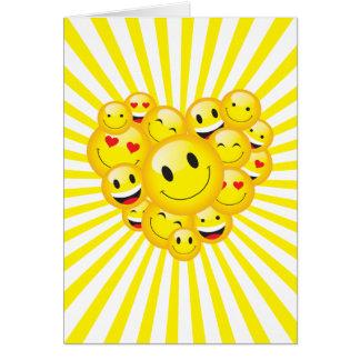 Emporhebende Sonnenschein-gelbe positive Karte
