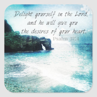 Emporhebendes inspirierend Bibel-Vers-Psalm-37:4 Quadratischer Aufkleber