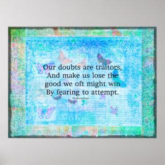 Emporhebendes motivierend Zitat durch Shakespeare Poster
