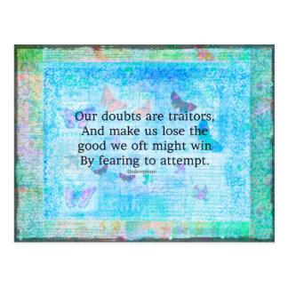 Emporhebendes motivierend Zitat durch Shakespeare Postkarte