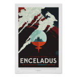 Enceladus - Retro die NASA-Reise-Plakat Poster