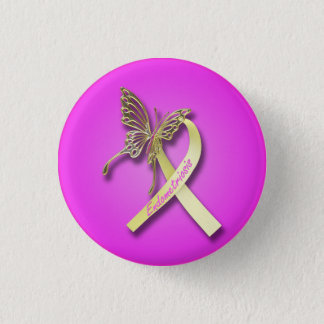 Endometriosis-Band mit Goldschmetterling Runder Button 3,2 Cm