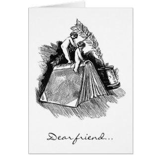 """Engel auf Buch, """"lieber Freund… """" Karte"""