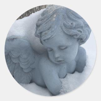 Engel auf den Bauernhof-runden Aufklebern Runder Aufkleber