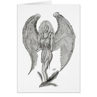 Engel Bleistiftzeichnung Black and white Design Grußkarte